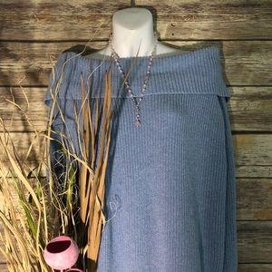 Tops - Sky Blue Off the Shoulder Sweater